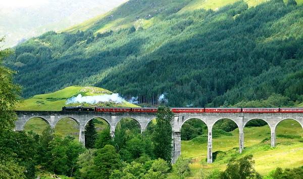 Glen Finnan Viaduct and Steam Train