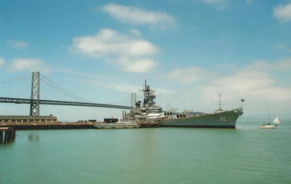 Battleship USS New Jersey at dock beside the Bay Bridge, circa 1982
