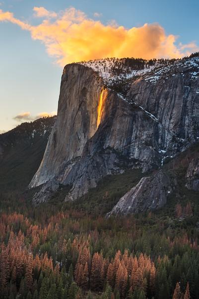 Yosemite Firefalls at sunset