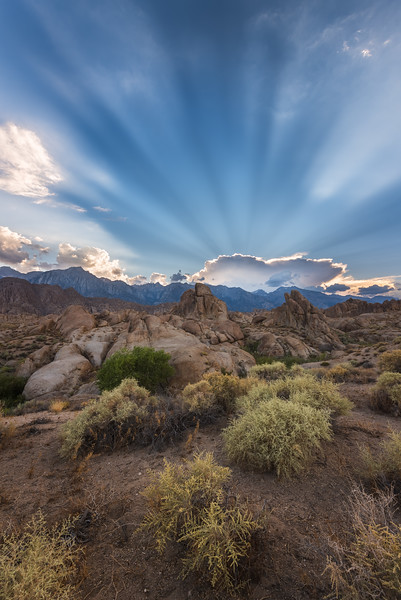 Alabama hills rays at sunset, Eastern Sierras