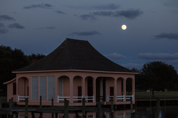 The boat house under full moon at the Whalehead Club