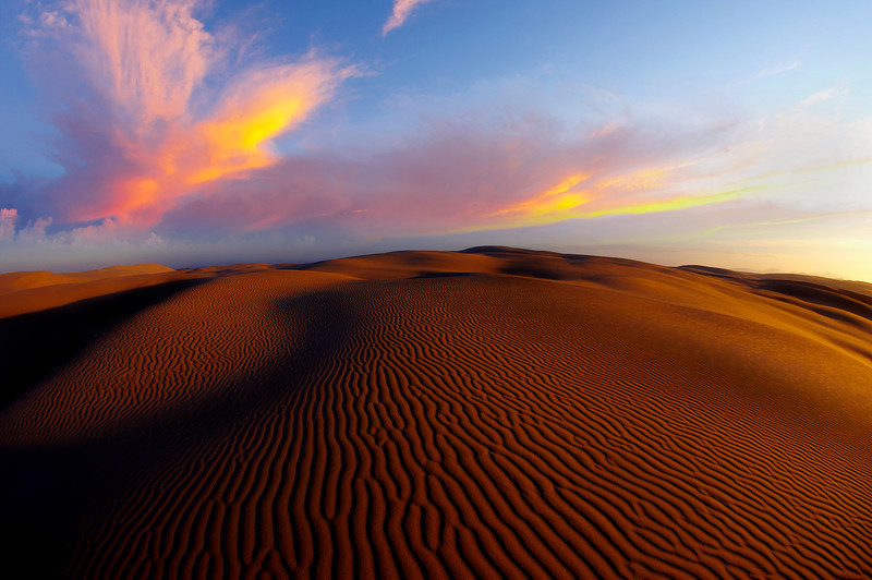 Birubi sand dunes at sunrise. Port Stephens, New South Wales, Australia