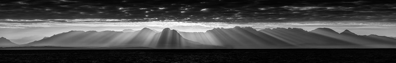 stitch panorama of sunrise over the sea from False Bay near Capetown, South Africa