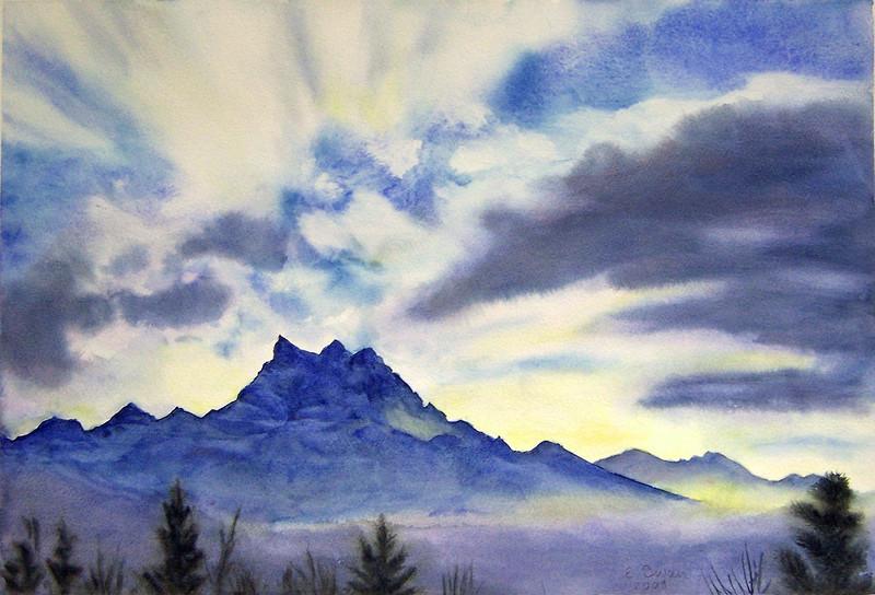 """Les Dents-du-Midi, Winter Afternoon"" (watercolor) by Elizabeth Burin"