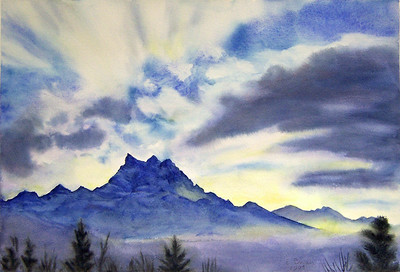 """Les Dents-du-Midi, Winter Afternoon"" (watercolor) by Elizabeth Burin"