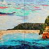 """Pictured Rocks"" (fabric collage on canvas) by Dattatreya Phadke"