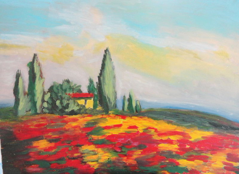 """Morning in Tuscany"" (acrylics) by Valerie Leri"
