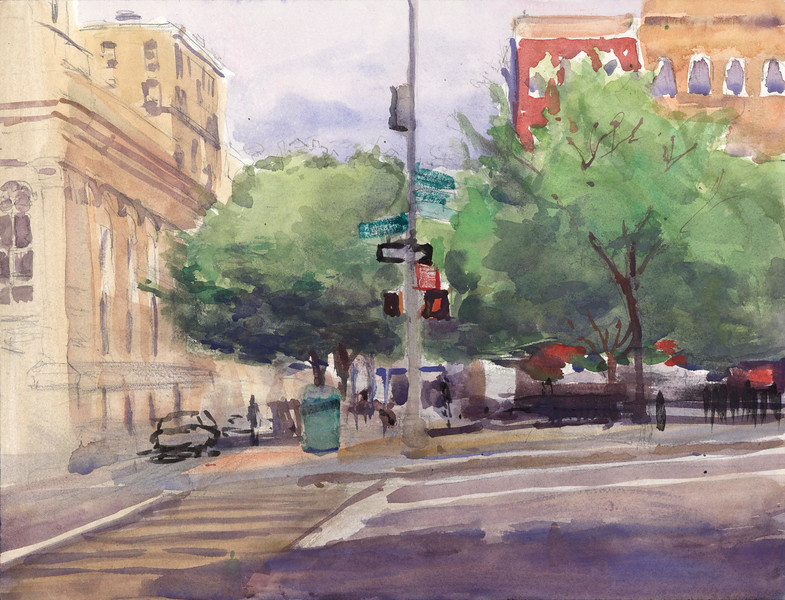 """Sixth Avenue and Bleaker"" (watercolor) by Walter Mosley"