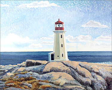 """Peggy's Cove Light"" (oil on canvas) by Ed Burke"