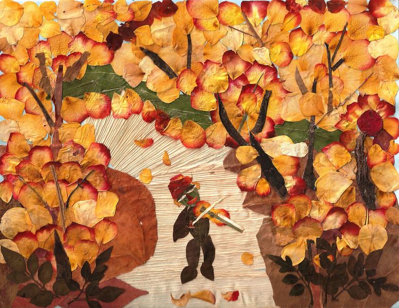 """Song of Nature"" (pressed leaves, pressed flower petals) by Vasantha Mukthavaram"