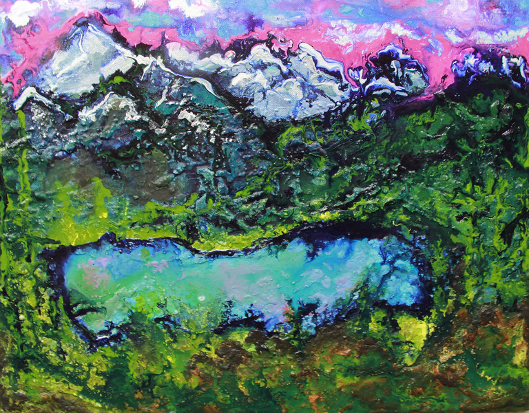 """Sapphire Lake"" (mixed media -modelling paste, acrylics on stretched canvas) by Subha Chaudhuri"