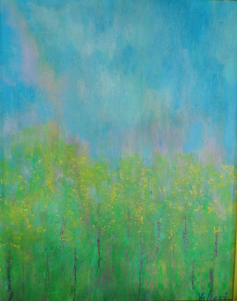 """Sojourn into Spring"" (acrylics) by Valerie Leri"