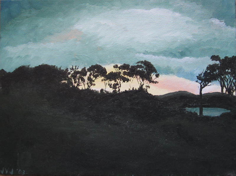 """Oz Sunset Hill"" (acrylic on panel) by Josette J. Bailey"