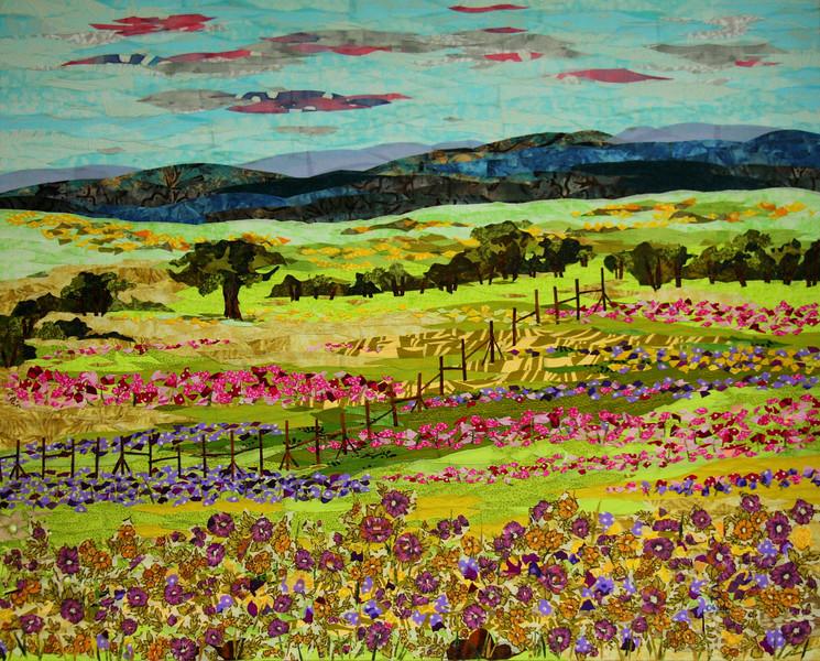 """Kaas Valley of Flowers"" (fabric collage on canvas) by Dattatreya Phadke"