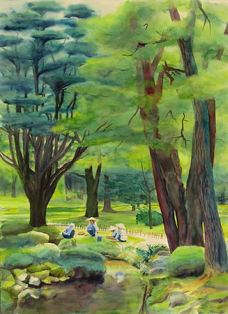 """Japanese Gardeners"" (watercolor) by Elizabeth Burin"