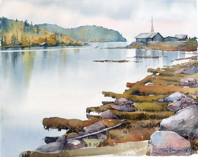 """""""Low Tide"""" (watercolour on paper) by Anna Mikhaylova"""