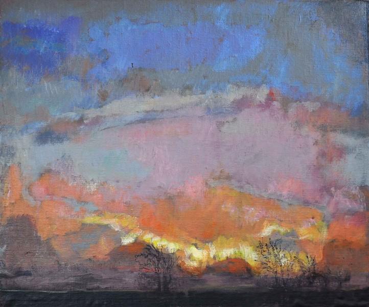"""Evening landscape. Denmark. "" (acryl and oil on MDF board) by Sven Froekjaer-Jensen"