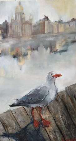 """Silver Sunrise"" (oil on canvas) by Svetlana Kornilova"