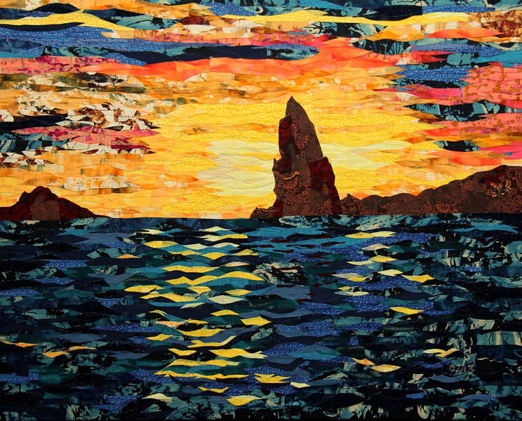 """Sunset over Pinnacle Rock"" (fabric collage on canvas) by Dattatreya Phadke"