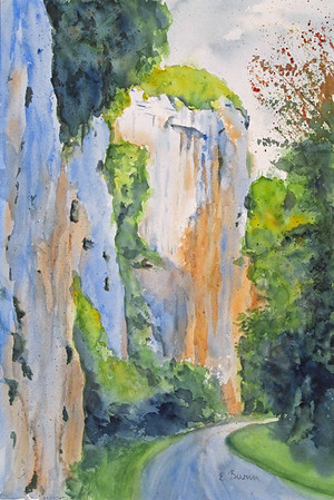 """Along the Lot River"" (watercolor) by Elizabeth Burin"
