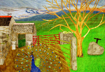 """FARM GATES, COW HOUSE"" (pastel, aqua crayon, ink, marker, acrylic, watercolor, printed and collaged elements on paper) by Allison Doherty"