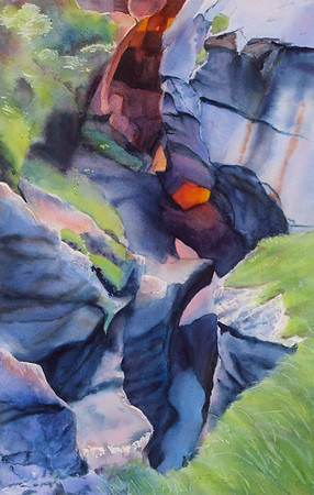 """Torchlight in the Gorge I"" (watercolor) by Elizabeth Burin"