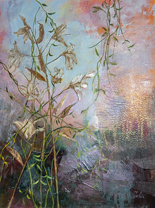 """At the Pond"" (mixed media) by Julia Hacker"