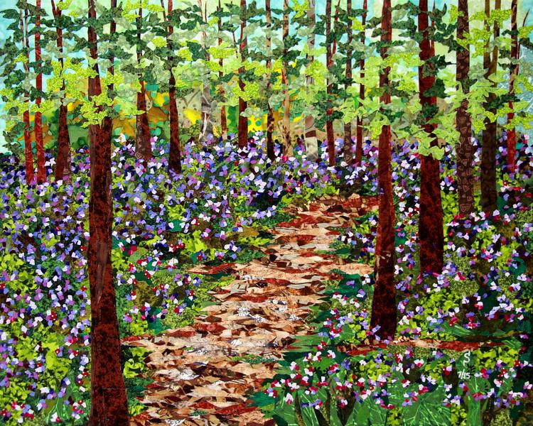 """Woods N' Wildflowers"" (fabric collage on canvas) by Dattatreya Phadke"