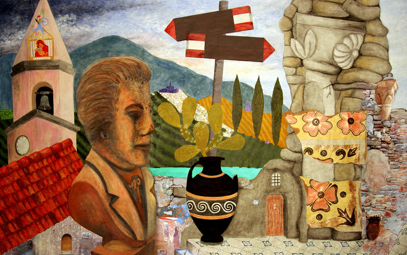 """VITTORIO ALFIERI GAZES BEYOND NOEPOLI"" (watercolor, pastel, acrylic, India ink, acrylic markers, oil stick, charcoal, collaged elements on paper) by Allison Doherty"