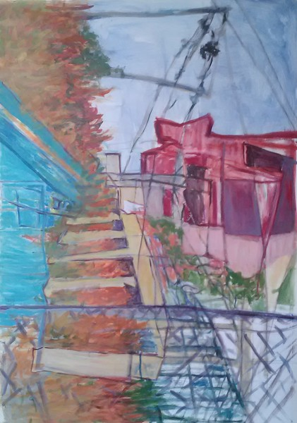 """""""Fishway"""" (acrylic and oil pastel on paper) by Rachel Desrochers"""
