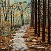 """Snowy Wooded Path"" (fabric collage on canvas) by Dattatreya Phadke"