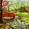 """The Bridge at Cranbrook"" (fabric collage on canvas) by Dattatreya Phadke"