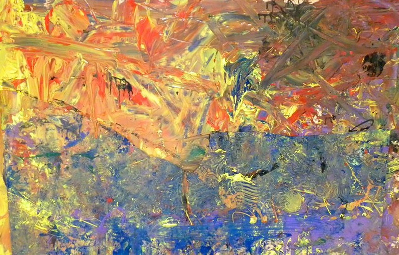 """Puckscape"" (acrylic paint on wood) by Rachel Desrochers"