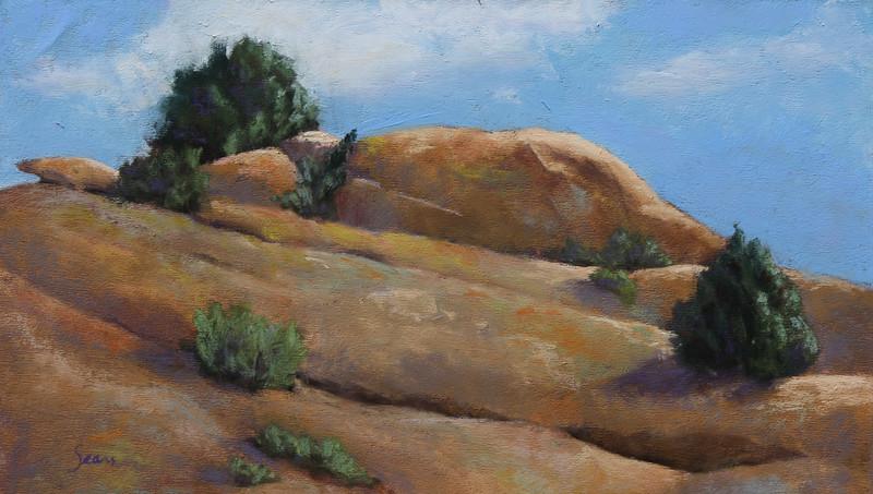 """""""Lichen Rocks Ridge"""" (pastel) by Melody Sears"""