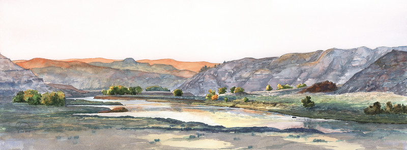 """""""Sunrise at Gist Bottom"""" (watercolor) by Paul Tunkis"""