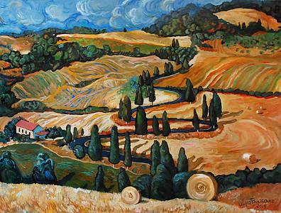"""""""Toscana"""" (oil on board) by Lelya Borisenko"""