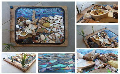 """Oh, I So wanted to be in there"", 2016 (mosaic: bark, stones, pebbles, marble, smalti, millefiori (murrina), shells, ceramic, metal, wood, bone, acorns, sponge, XVI century pipes, cork, chestnut shell, crab, glass, peach stone, slate, plastic and cement on wood, direct method -partly on mesh) by Francesca Busca"