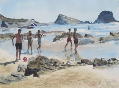 """""""Atlantic Beach"""" (watercolor) by Elizabeth Burin"""