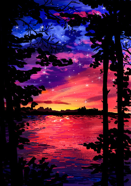 """Catching the sunset"" (digital) by Mary Schcerbakova"