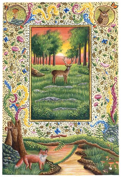"""Forest at dusk"" (illuminated text) by Sebastien Maillard"