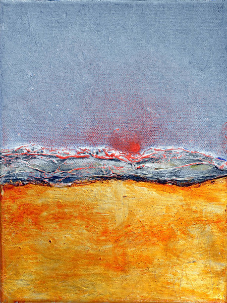 """""""Tramonto (sunset)"""" (oil painting , silver leaf on canvas) by Oscar Coffani"""
