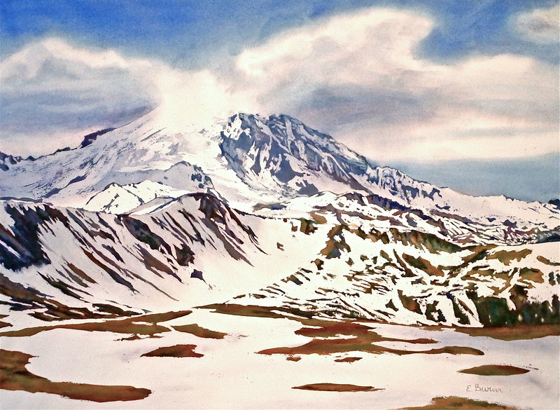 """Mount Rainier, Melting Snow II"" (watercolor) by Elizabeth Burin"