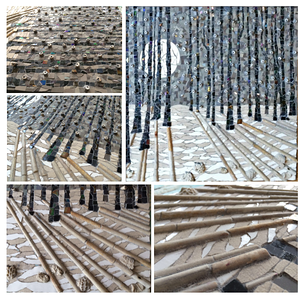 """Winter Forest"", 2016 (ceramic, glass, fossils and XVI Century pipes, direct method. 100% of the material is recycled/upcycled.) by Francesca Busca"