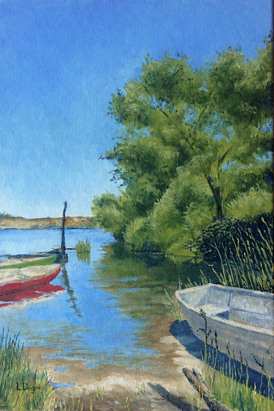 """The Abandoned Boat at Lago Chiusi"" (oil on panel) by 	Louis Degni"