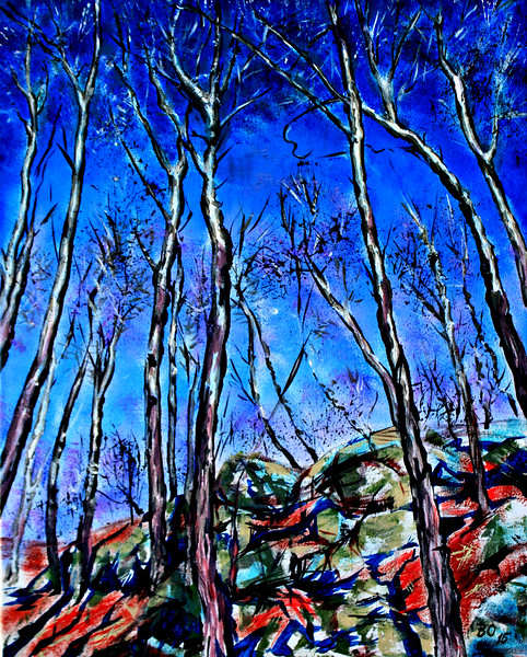 """Trees and rocks"" (acrylic on canvas) by Victor Ovsyannikov"