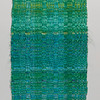 """Water Reflection"" (	 weaving: handdyed cotton warp, handspun & dyed Bamboo) by Doerte Weber"