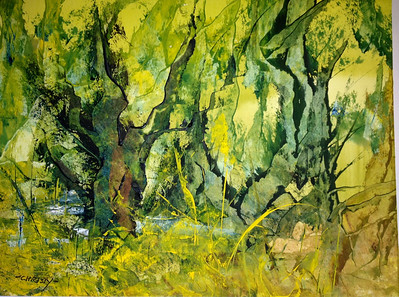 """Forest Fantasy"" (Knifed Watercolors®) by 	Marian Christy"