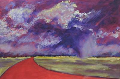 """Rain Down on Tucson"" (oil on board) by Diane Fairfield"