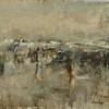"""Skating at Dunn Pond"" (oil on linen) by John Pacheco"