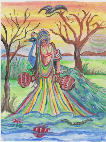 """""""Life In This Land"""" (water and flower color mix) by Kusum Lata"""